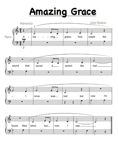 amazing grace easy piano