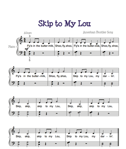 Skip to my lou Piano Sheet Music