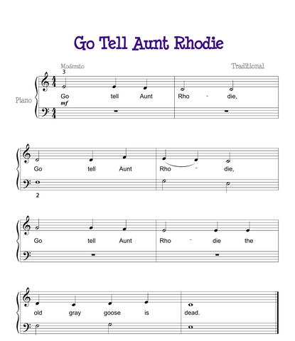 Go Tell Aunt Rhodie Sheet Music piano