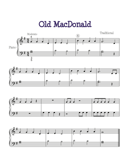 Old MacDonald Sheet Music