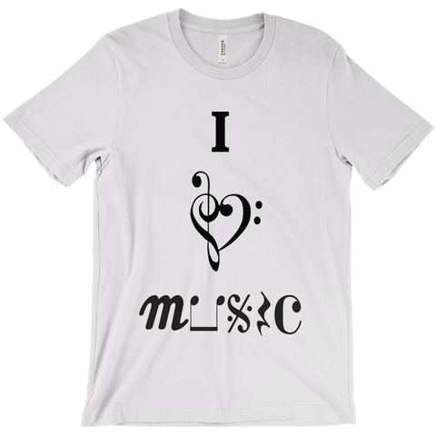 Music Themed T Shirts - I Love Music - Unisex