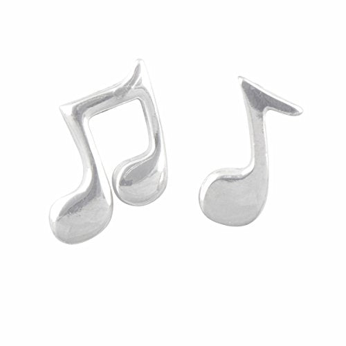 Sterling Silver Mismatch Music Note Stud Earrings