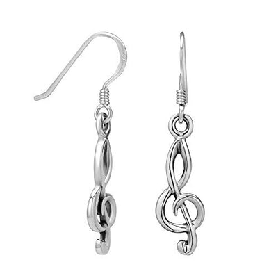 925 Sterling Silver Treble G Clef Musician Dangle Hook Earrings