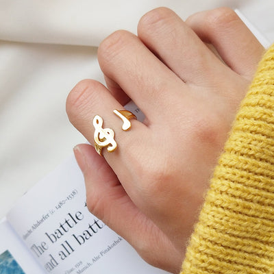 Music Note Cuff Ring 1pc