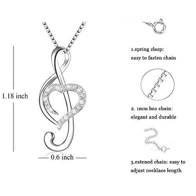 "925 Sterling Silver Music Note Love Heart Necklace Pendant, Box Chain 18"":"