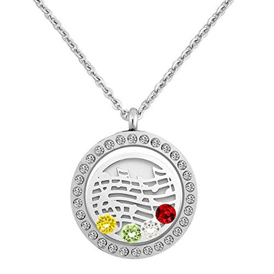Third Time Charm Love Music Necklace 4 Crystals Floating Charm Locket Pendant