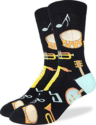 Men's Musical Instruments Socks - Black, Adult Shoe Size 7-12