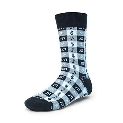 Music Treble Clef ~Sock Size 10-13~Great Gift (Music Check Black)