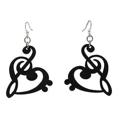Treble Clef Heart Dangle Earrings, Wood with Stainless Steel Hooks, Black