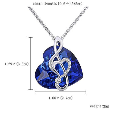 Crystal Diamond Love & Mom Sapphire Blue Ocean Heart Pendant Necklace Music Note