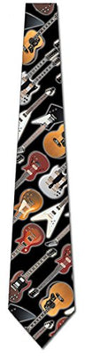 Guitar Ties Mens Electric Acoustic Necktie