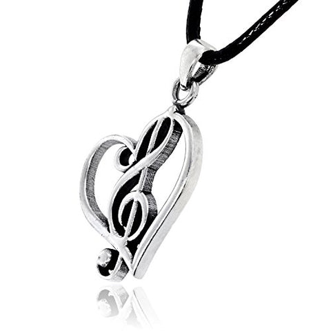 'Music is Love' Heart Treble Clef Pendant Necklace Pewter Jewelry