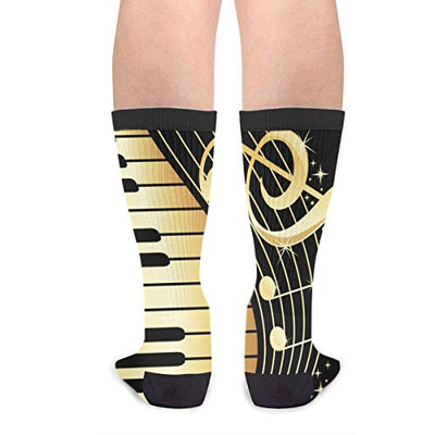 Unisex Fun Novelty Crazy Crew Socks Music Note Piano Dress Socks