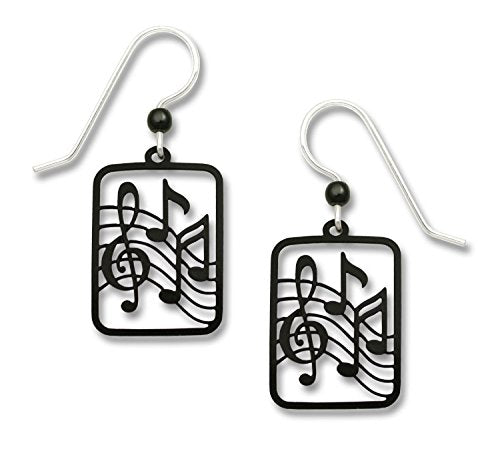 Black Treble Clef Notes Music Earrings