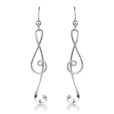 Sterling Silver Treble G Clef Musical Note Music Lover Curvy Design Dangle Hook Earrings 2.2""