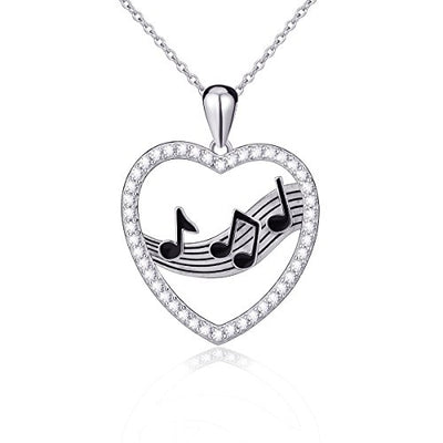 925 Sterling Silver Treble Clef Bass Heart Musical Note Pendant Necklace, 18 inches: Gateway
