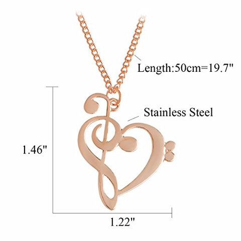 Rose Gold Tone Music Note Symbol Musical Instrument Treble and Bass Clef Heart Pendant Necklace
