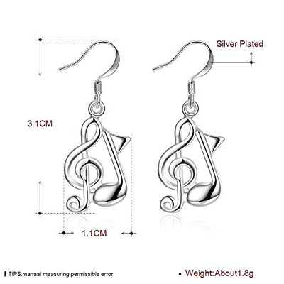Wedding Ceremony Party 925 Sterling Silver Plated Women Girls Hoop Dangle Earrings