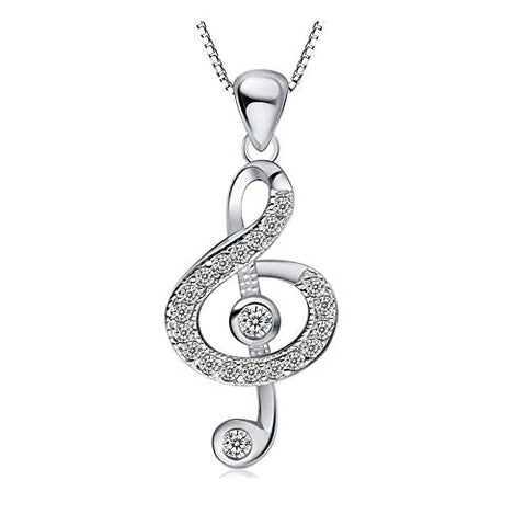 Music Note Pendant Necklace for Women Girls Sterling Silver Plated Zircon Jewelry Gifts