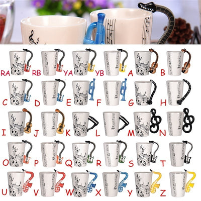 Music Note Guitar Pattern Stylish Ceramic Cup Individualized Handle Creative Coffee Tea Cup