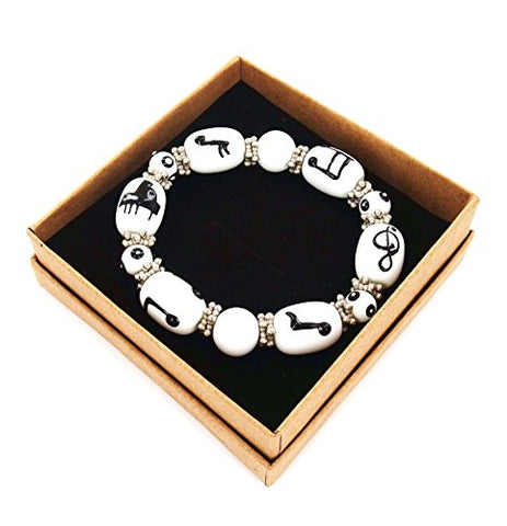 "Woman Stretch Bracelet Hand Painted Piano & Music Notes Glass Beads, Size 8~12mm Length 7.5"", White"