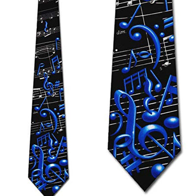 Men's Black & Blue Musical Notes Music