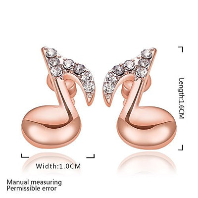 rose gold Stainless Steel Women Fashion Music Note Stud Earrings