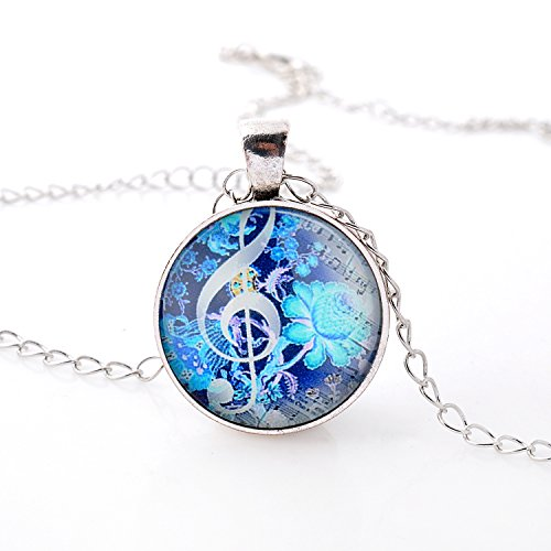 Fluorescent Color Flowers with Musical Note Charm Necklace for Women and Girl