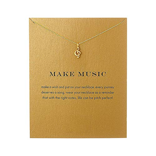 Music Treble Clef Necklace Friendship Sister, Good Luck Pendant Necklace with Meaning Card (Music-Gold)