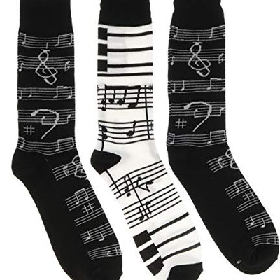 Everbright Men's Music Theme Crew Socks, (3 Pr), One Size, (Two Black, One White) at Amazon Men's Clothing store:
