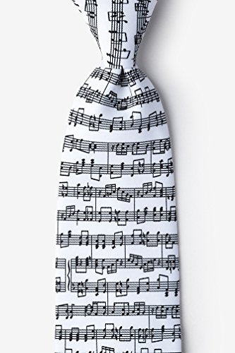Sheet Music White Microfiber Tie
