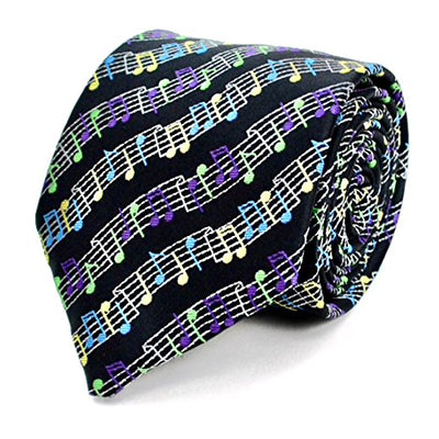 Mens Music Notes Novelty Necktie for Musicians (Black & Blue) & Gift Pouch