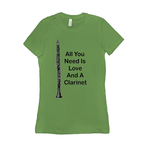 Clarinet T-Shirt - All you Need Is Love And A Clarinet - Women's - Music For Little Learners