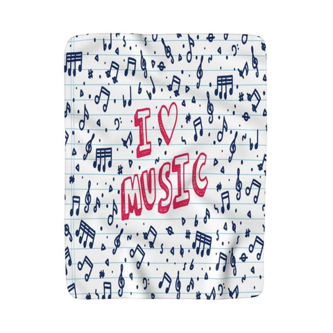 Music Note Blanket - Sherpa Fleece Blanket - Music For Little Learners