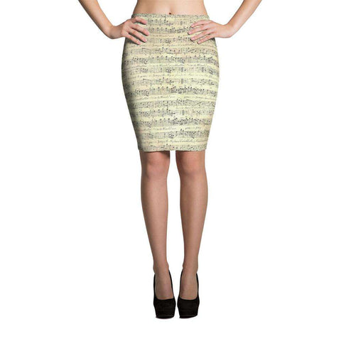 Music Note Skirt - Pencil Skirt