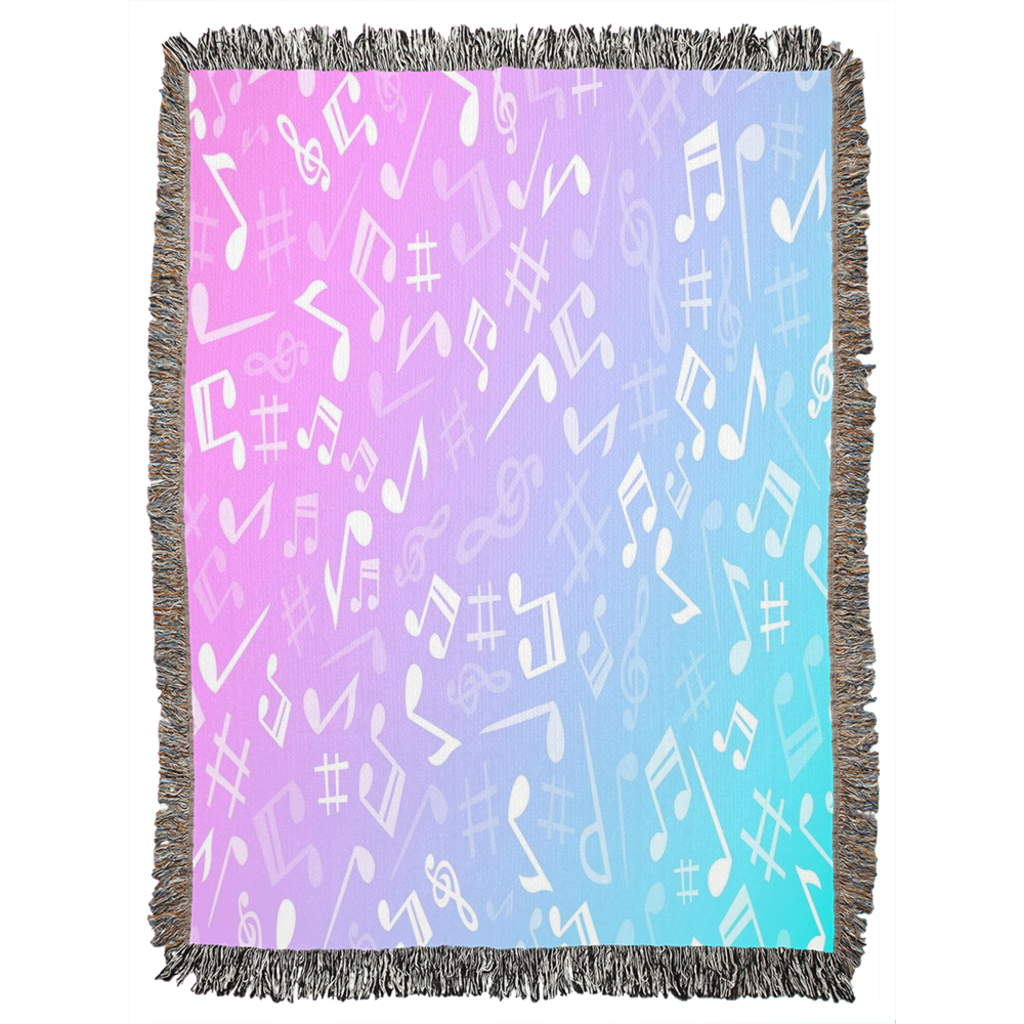 Music Note Throw Blanket - Woven