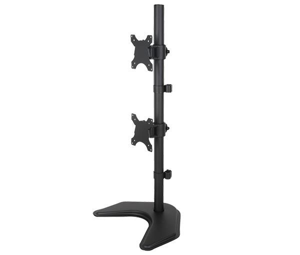 Dual Monitor Desk Stand Free-Standing LCD Mount, Holds in Vertical Position 2 Screens up to 30