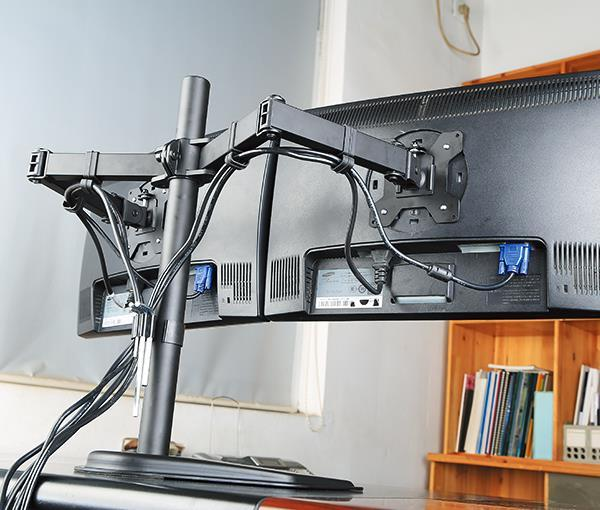 Dual Monitor Stand, Free Standing Height Adjustable Two Arm Monitor Mount for Two 13 to 27 inch LCD Screens with Swivel and Tilt Hongkong Model EF002