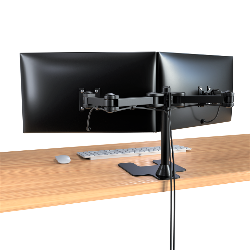 Freestanding Dual Monitor Mount, Fully Articulating Heavy-Duty Broad Arms, Compatible for Two Screens up to 32 inches with Standards 75 * 75mm and 100 * 100mm VESA Holes, Black (2HDF)