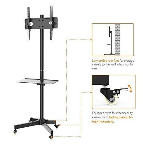 Mobile TV Cart for LCD LED Plasma Flat Screen Panel Trolley Floor Stand with Locking wheels | Fits 23