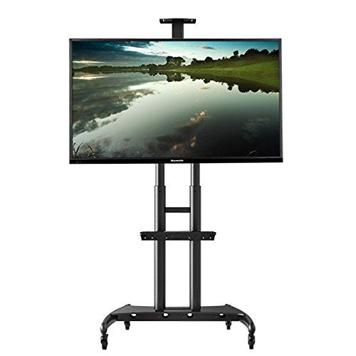 Heavy Duty Mobile TV Trolley Stand with Mount for LED LCD Plasma Flat Panel Screens and Displays 50 to 80 inch with 198 lbs weight capacity, (H05)