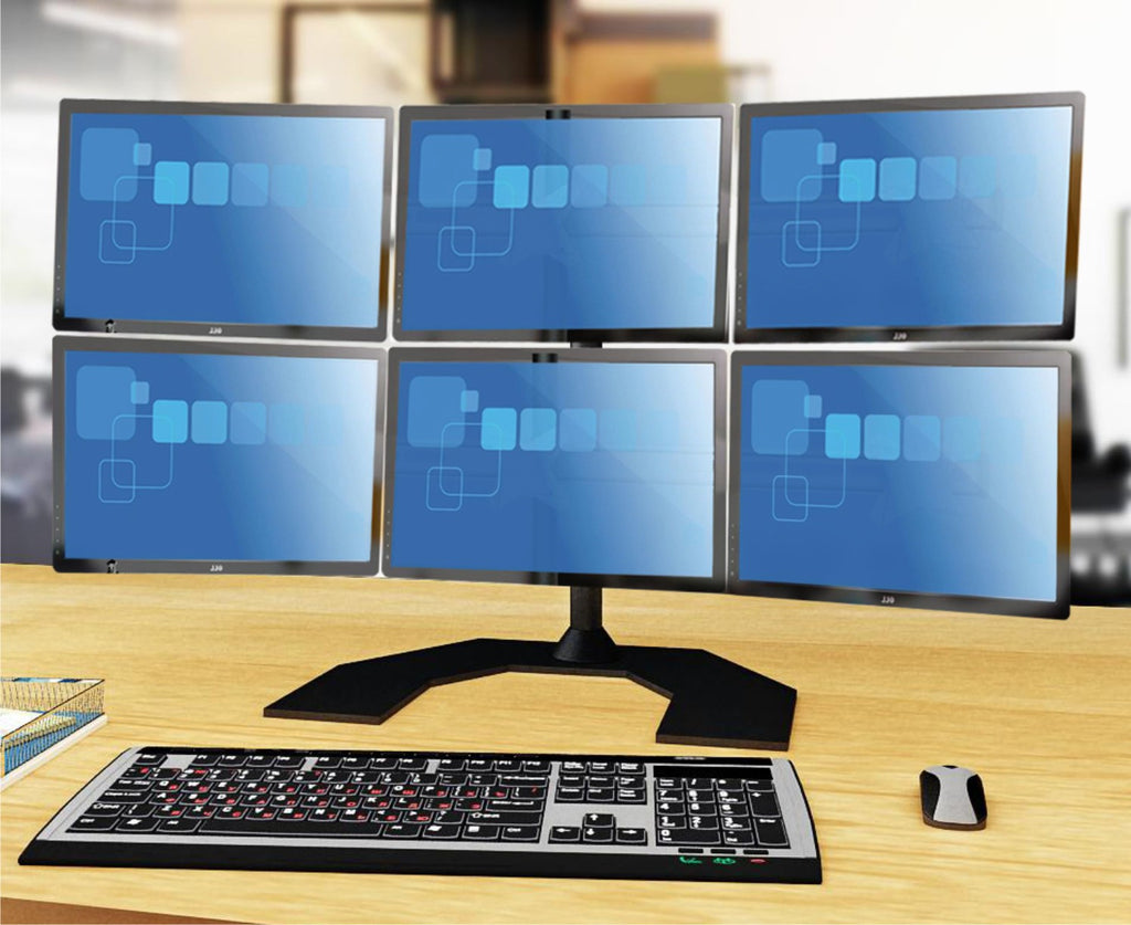 Six Monitor Stand - Freestanding - with White Wider Arm (6MS-FHPW)
