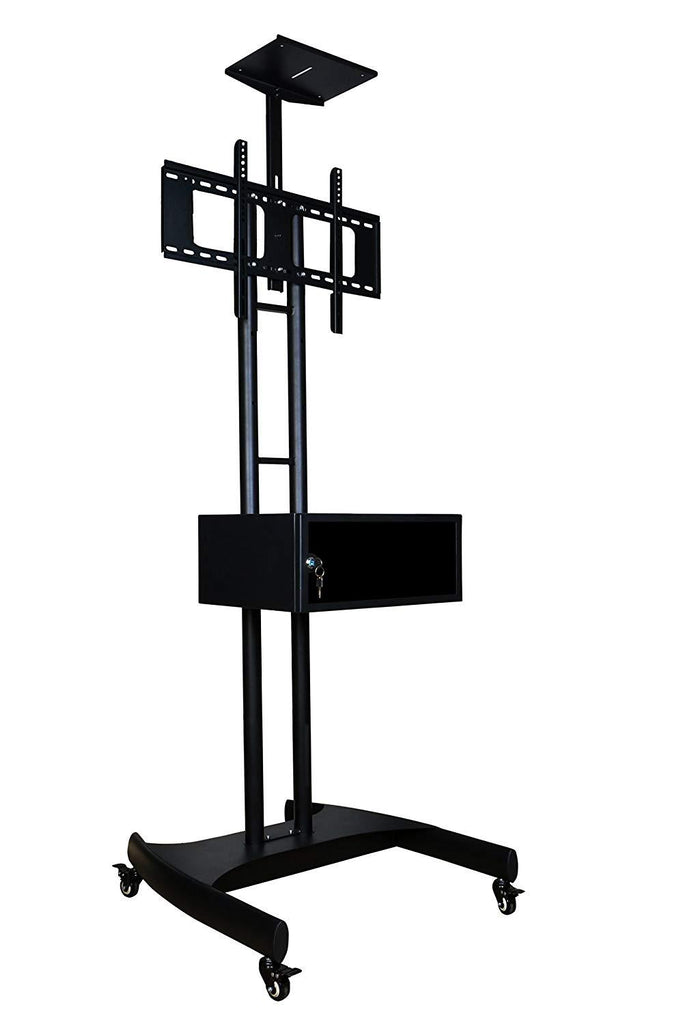 TV Floor Stand on Wheels I Universal Mobile TV Stand with AV Cabinet !Rolling TV Cart for Screens 32 to 65 inches (TMC-E)