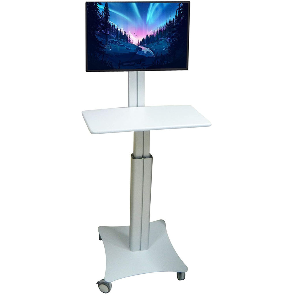Sit Stand Mobile Workstation with Gas Spring Height adjustments and Keyboard Tray, Optional CPU Holder, Printer Shelf (Silver)