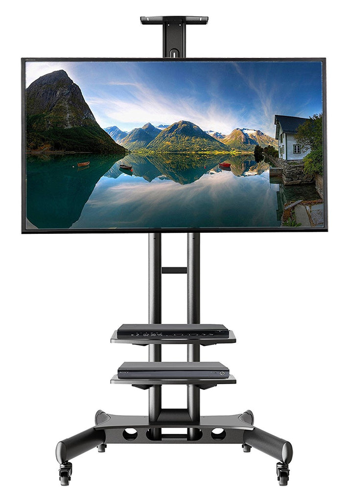 Universal Mobile TV Stand TV Cart with Height Adjustable shelf and flat screen mount – Fits 32 to 65 inches LED, LCD TVs