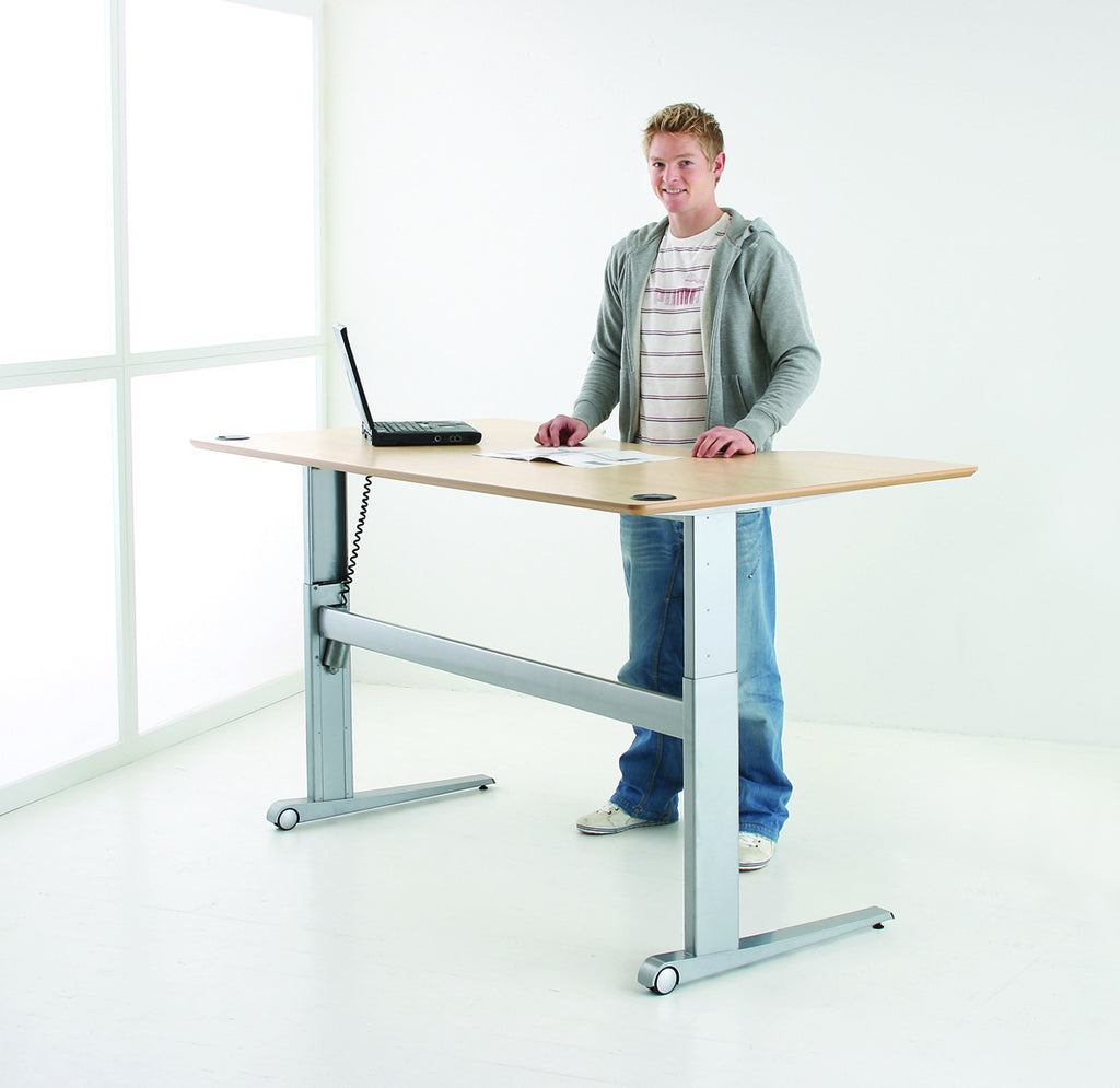 Wheeled Base 2-Leg Electric Height Adjustable  with Cable Tray (Conset Denmark Make)