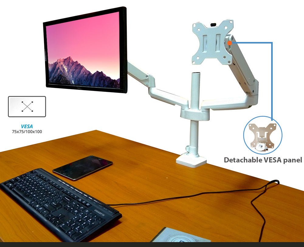 Full Motion Aluminum Dual Monitor Stand, Articulating Gas Spring Vesa Mount Stand with Heavy Duty C-Clamp Base, Hold Up to 27