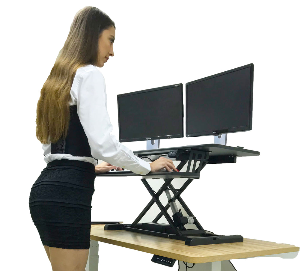 Ergonomic Electric Height Adjustable X-Lift Standing Desk Converter for Dual Monitors and Laptop - Black