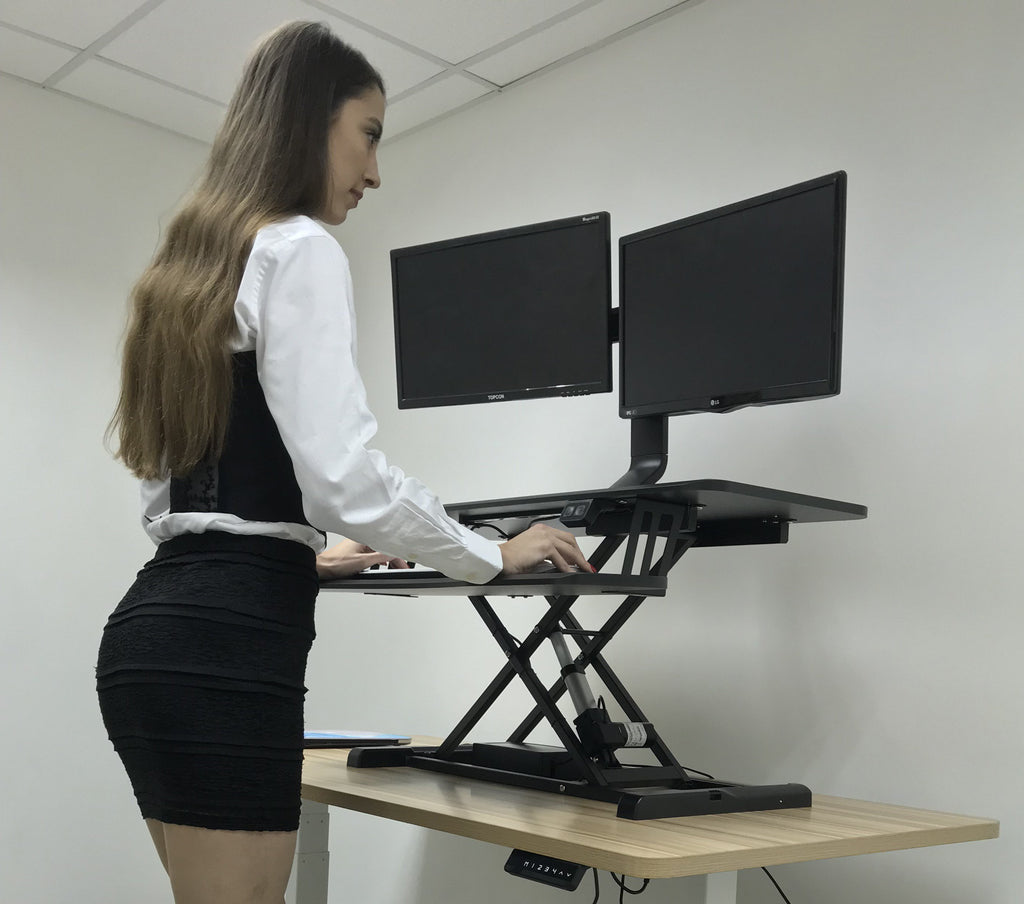 Electric Height Adjustable X-Lift Sit-Stand Desk Converter with Dual Monitor Mount, Fits Two 17 to 27 Inch Computer Monitors, Black