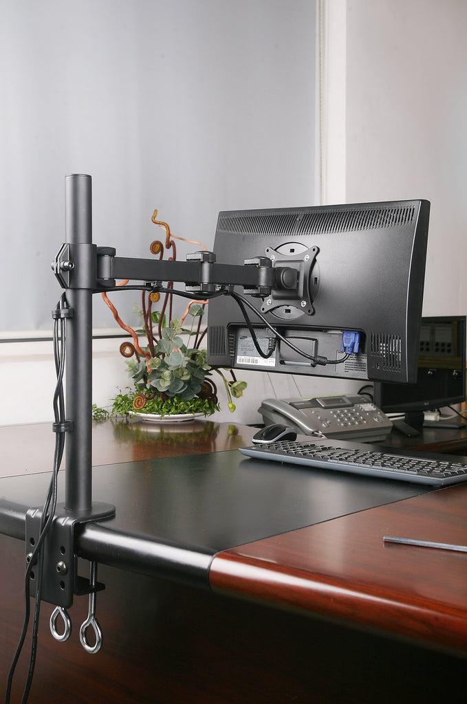 Single Monitor Desk Mount Single LCD Monitor Desk Mount Stand Fully Adjustable/Tilt/Articulating for 1 Screen up to 27